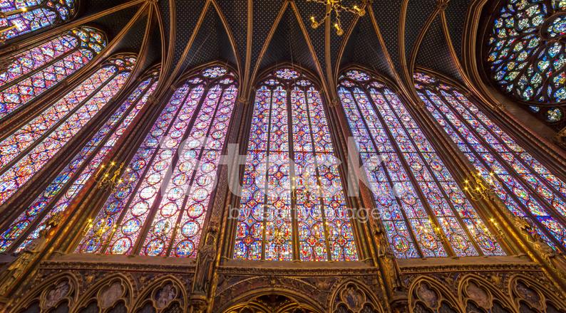 Interiors Of The Sainte Chapelle Paris France