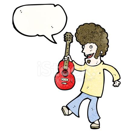 Karikatür Hippi Adam Gitar Stock Vector Freeimagescom