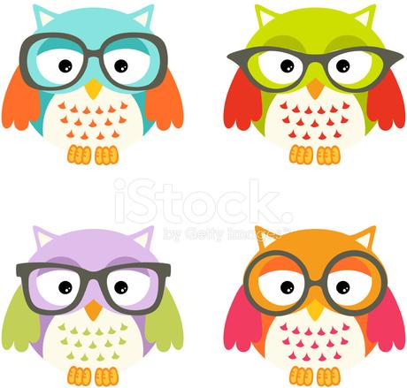 Adoraveis Corujas Com Oculos Stock Vector Freeimages Com
