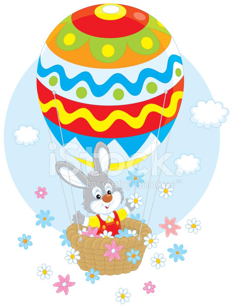 Easter Bunny In A Balloon Stock Vector Freeimages Com