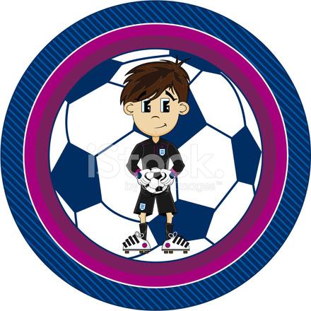 Personaje DE Dibujos Animados Futbol Arquero fotografas de stock
