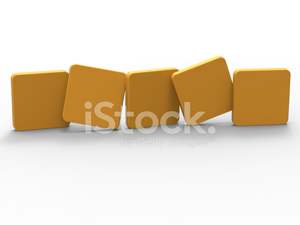 five blank tiles show copyspace for 5 letter word stock photos
