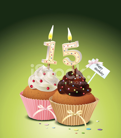 Birthday Cupcake With Candle Number 15