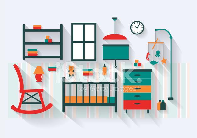Dormitorio O Cuarto DE Bebé Con Cuna Muebles Y Largas Sombras Stock ...