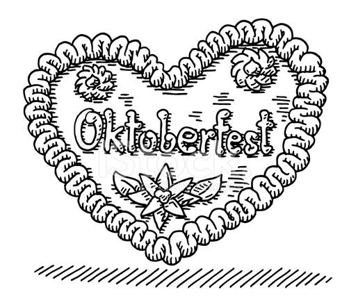 oktoberfest lebkuchen herz zeichnung stock vector