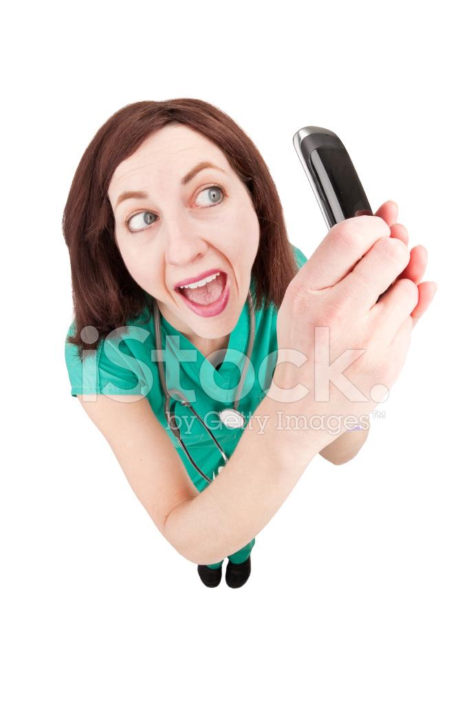 Happy Fisheye Nurse Taking Selfie on Cell Phone Stock ...