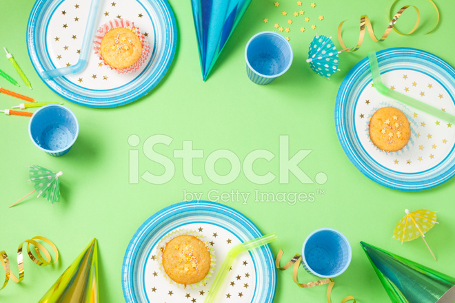 Boy birthday green table setting with party gadgets  sc 1 st  FreeImages.com & Boy Birthday Green Table Setting With Party Gadgets Stock Photos ...
