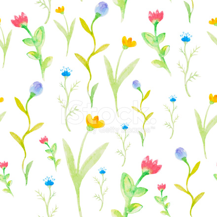 Dessin Sans Couture De Printemps De Fleurs Aquarelle Stock