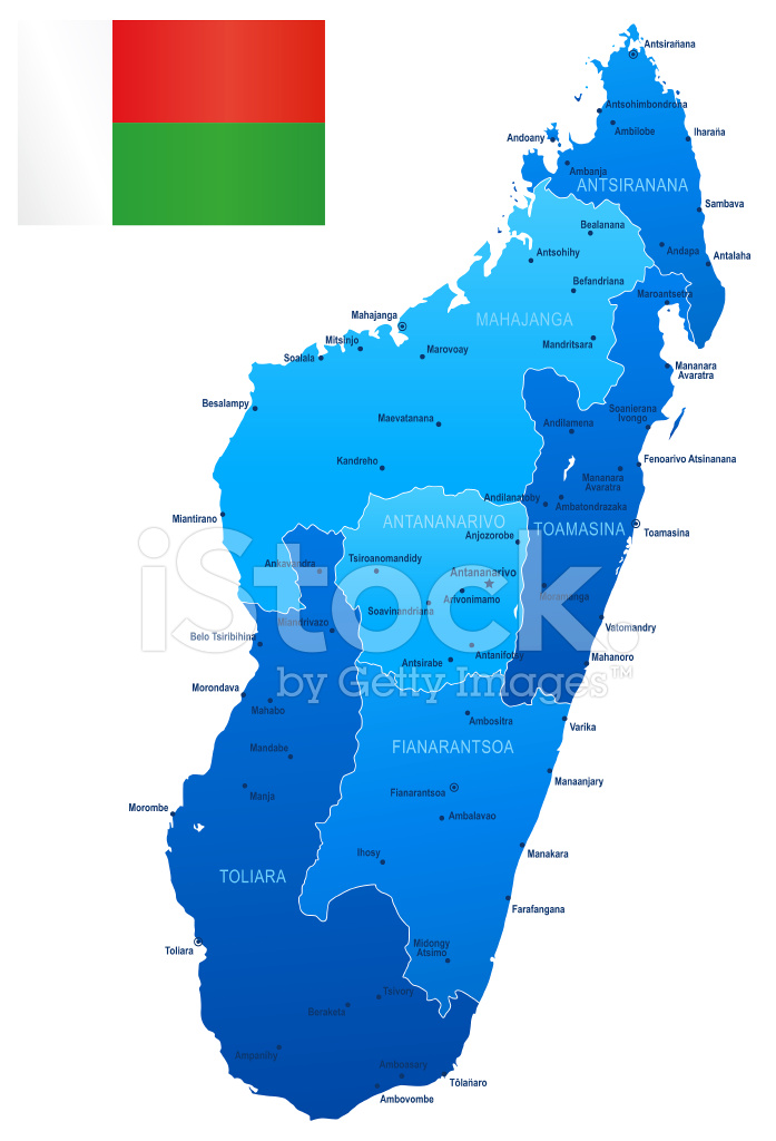Map of Madagascar States, Cities, Flag and Icons Stock Vector ...