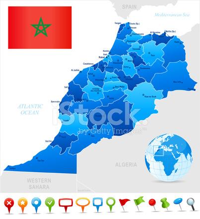 Mapa De Marruecos Ciudades.Mapa De Marruecos Estados Ciudades Bandera E Iconos Stock