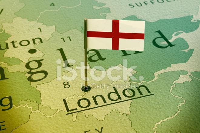 London England Flag Pin Map Vintage
