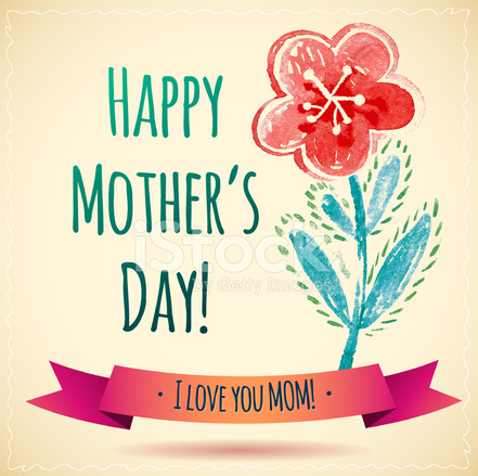 Tarjeta DE Feliz Da DE LA Madre Flor Acuarela  Te Amo A Mam