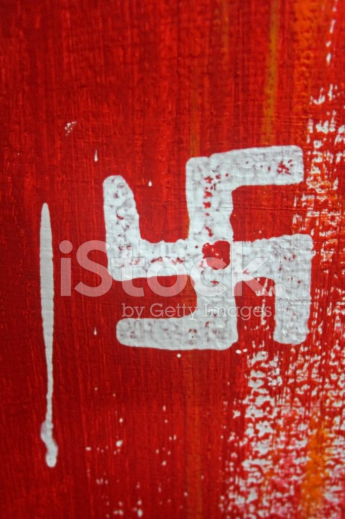Heilige Zeichen Namens Swastik Ist Auf Wand Indien Stockfotos