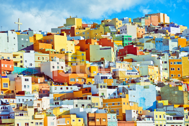 Colorful houses of las palmas de gran canaria stock photos - Houses in gran canaria ...