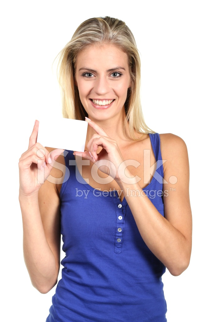 pretty woman holding business card stock photos freeimages com