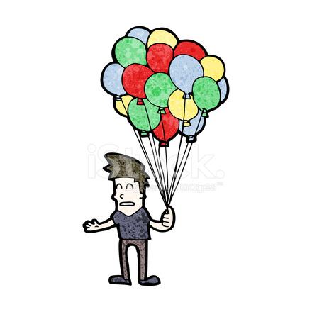 Hombre DE Dibujos Animados Vendiendo Globos fotografas de stock