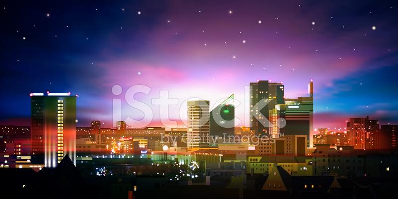 Arka Plan Ile şehir Ve Gündoğumu Stock Vector Freeimagescom