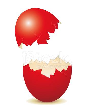 Broken Easter Egg AS AN Advertising Sign Stock Vector