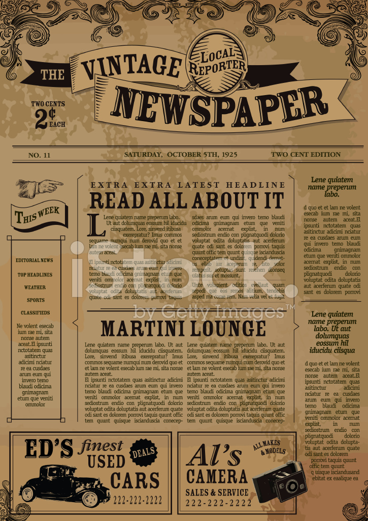 vintage newspaper layout design template stock vector