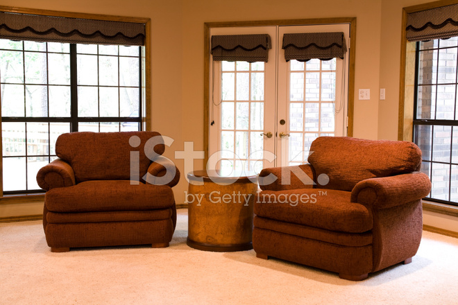 Den interior with two chairs french doors and end table. & Den Interior With Two Chairs French Doors and End Stock Photos ... pezcame.com