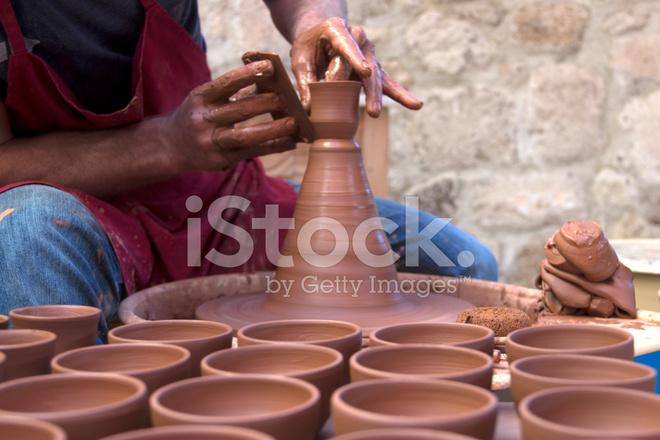 Artist Pottery Working On Ceramic Vases Stock Photos