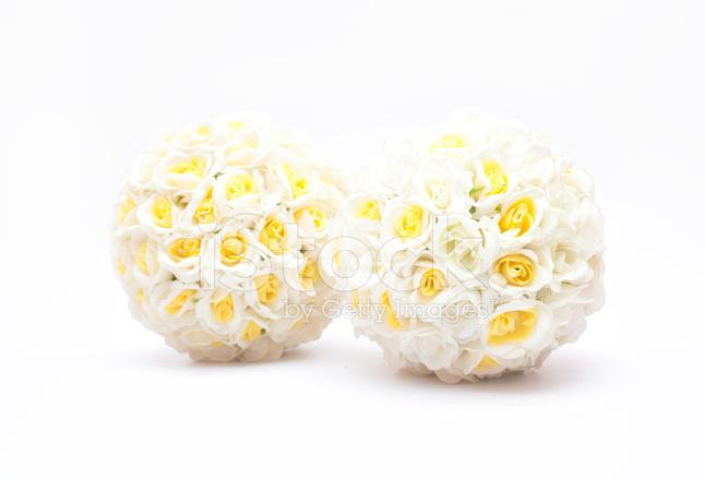 Doppie Palle Rose Su Sfondo Bianco Per Matrimonio Fotografie Stock