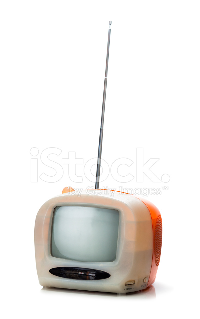 Portable T V S : Small portable tv from the s isolated stock photos