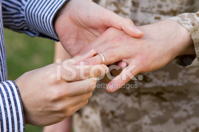 Gay Military Wedding Ring on Finger CU Stock Photos FreeImagescom