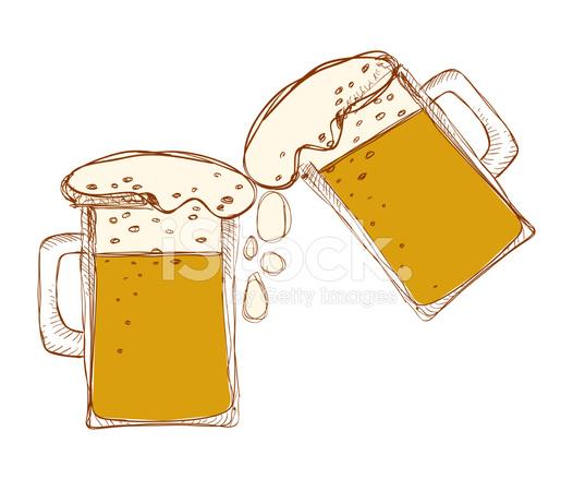 canecas de cerveja com a palavra sobre fundo branco stock vector