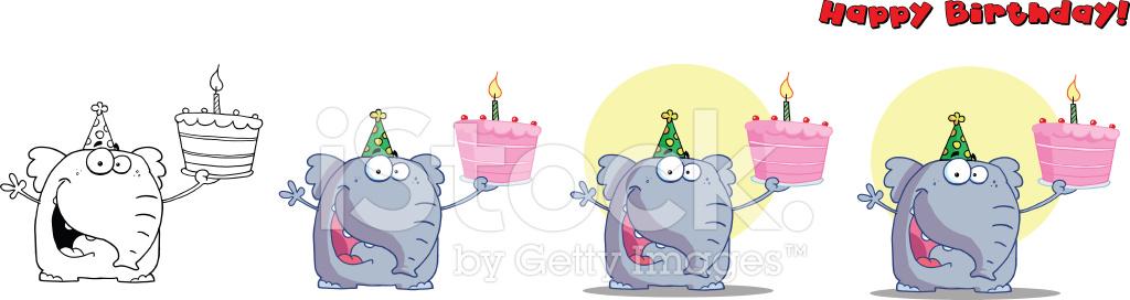 Collectie Van Verjaardag Olifant Stock Vector Freeimages Com