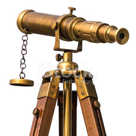 Vintage Brass Telescope on White Background Stock Photos ... Старинный Телескоп