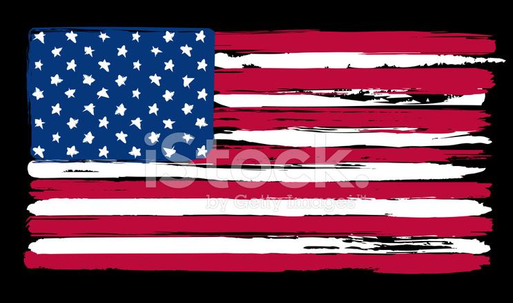 Amerikan Bayrağı Boyama Fırça Tarzı Içinde Stock Vector Freeimagescom