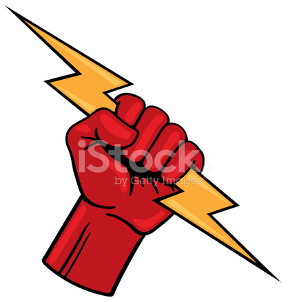 Lightning bolt hand holding. Fist with stock vector