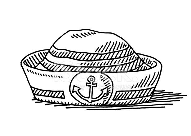 Denizci şapkası çapa Sembolü çizim Stock Vector Freeimagescom