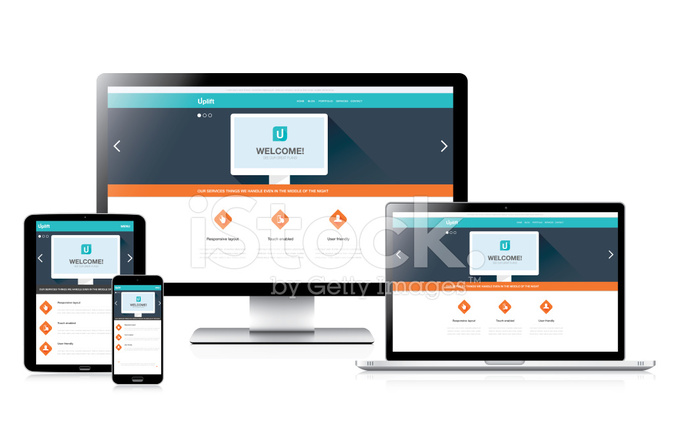 flat fully responsive website web design in modern vector comput