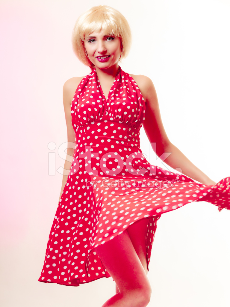 Pinup Girl IN Blond Wig and Retro Dress Stock Photos - FreeImages.com
