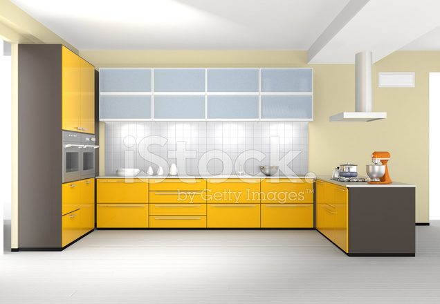 Modern Kitchen Interior Design With Yellow Color Coordinate Stock