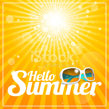 Charmant Hello Summer Poster With Cool White Sunglasses And Glorious Suns