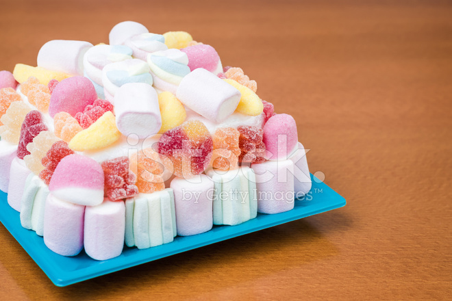 Cake Recipe Jelly Beans: Marshmallows And Jelly Beans Cake IN Pastel Tones Stock