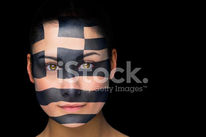 Yüz Boyama Yunan Futbol Fan Stok Fotoğrafları Freeimagescom