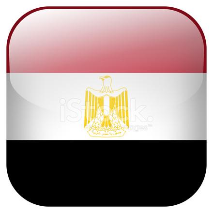 Egypte Nationale Vlag Vierkante Knop Gesoleerd Op Witte Achtergrond