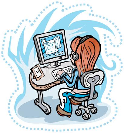 Girl Surfing Internet Happy Version Stock Vector