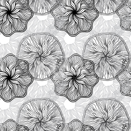 Abstract Floral Monochrome Seamless Pattern