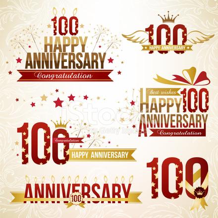 Set Van 100ste Verjaardag Stock Vector Freeimages Com