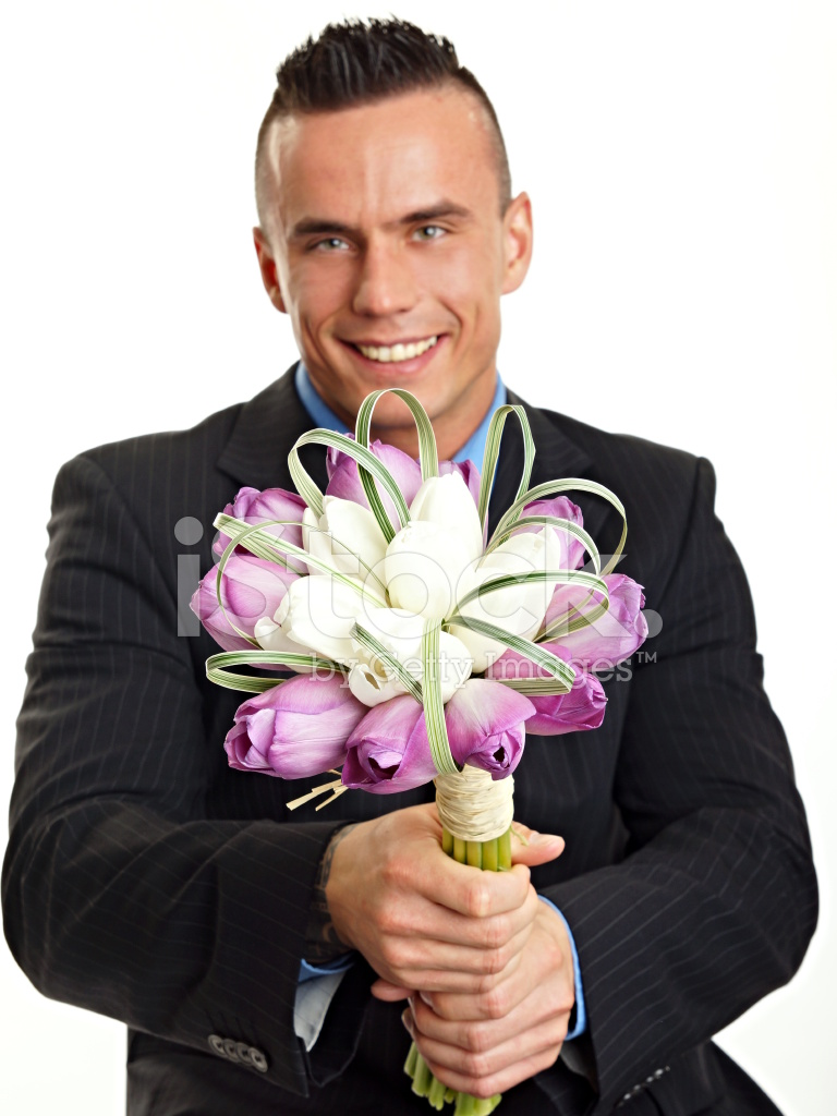 Young Man With Bouquet Of Tulips Stock Photos Freeimages