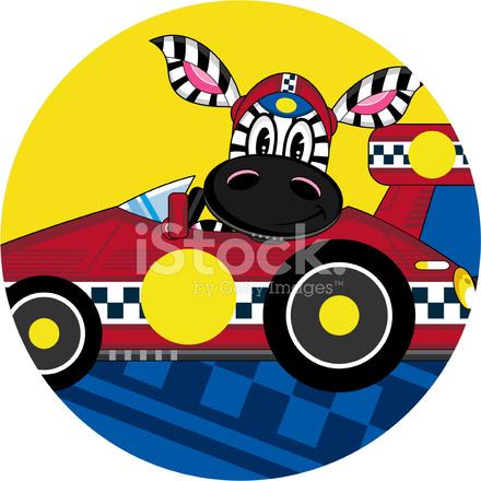 Cartone animato zebra racing car driver stock vector freeimages.com