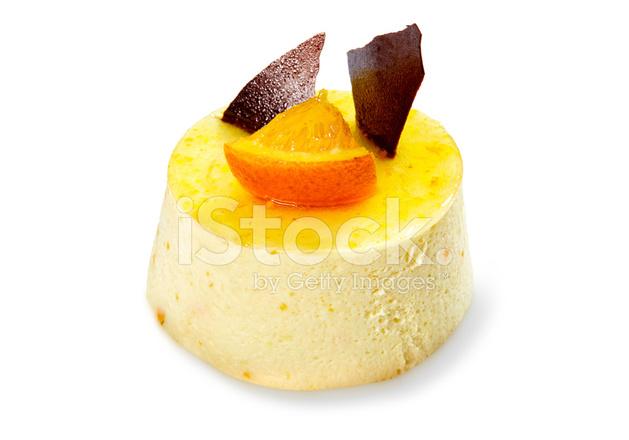 Orange Cream Tart Isolated On White Background Stock Photos