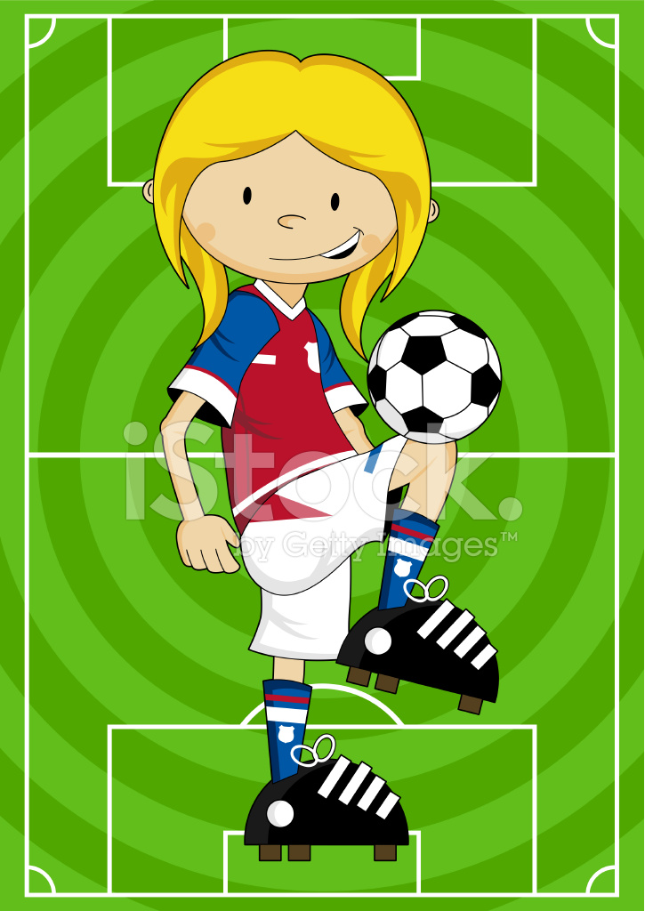 Cartoon Fussball Fussball Madchen Figur Stock Vector