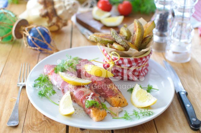 Bacon wrapped fish stock photos for Bacon wrapped fish