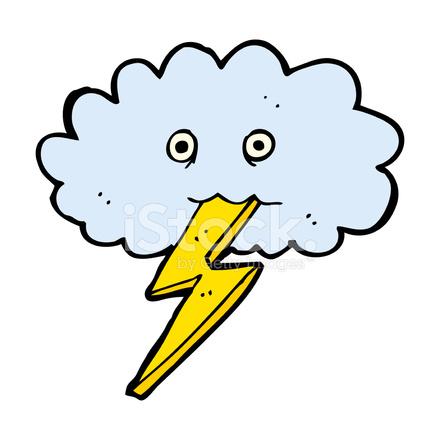 Nuvem E Relampago Dos Desenhos Animados Stock Vector Freeimages Com